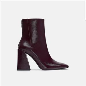 New burgundy leather boots